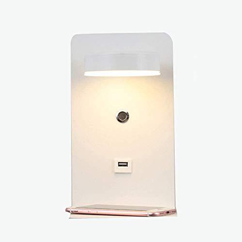 Wandschans, moderne roterende LED Bed Lezen Wandlamp met USB Opladen Poort en Plank, Creatieve Verlichting voor Woonkamer/Hotel/Hallway/Slaapkamer