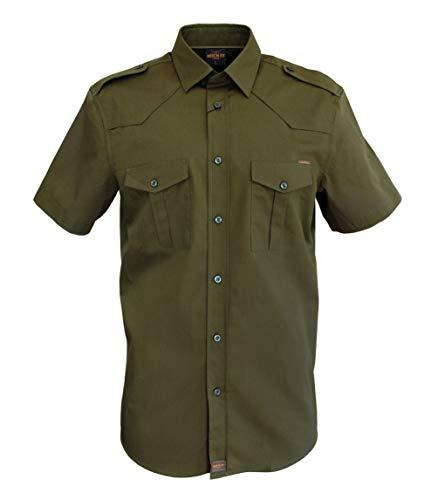 ROCK-IT Apparel® Camicia a Maniche Corte da Uomo, Camicia Casual Americana, Camicia Militare, Camicia Casual, S-5XL Made in Europe, Colore Olive Large