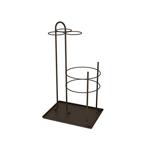 qingtianlove Portaombrelli in Ferro 60CM × 33CM Porta-Canna da Giardino in Metallo per Hotel portaombrelli (Color, Black),Brown