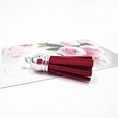 Borlas De Colores Llaveros Bolsa Encantos Joyas Borla Colgante Joyas Mujeres Hecho A Mano-Wine_Red
