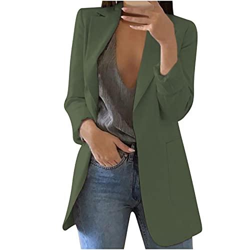 StarneA Traje de graduación para mujer, elegante blazer de un solo color, de manga larga, para negocios, oficina, chaqueta ajustada con bolsillo, informal, chaqueta de punto Verde militar XXL