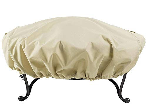 Leader Accessories 600D Full Coverage Round Fire Pit/Bistro Table Cover Heavy Duty & Waterproof & UV Resistand Fabric (Round 60' Diameter, Beige)