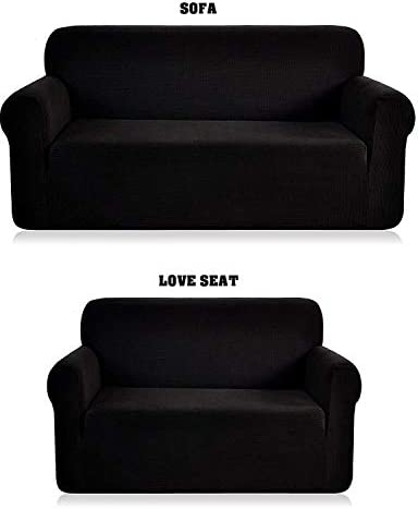 Best Luxury Home Collection 2 Piece Sure Fit Stretch Fabric Slipcover For Love Seat And Sofa Cover Solid