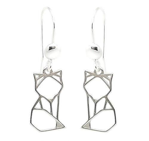 Las joyas Acidulés–Pendientes Origami zorro en plata 925–Bijou minimaliste creación francesa para mujer o adolescente