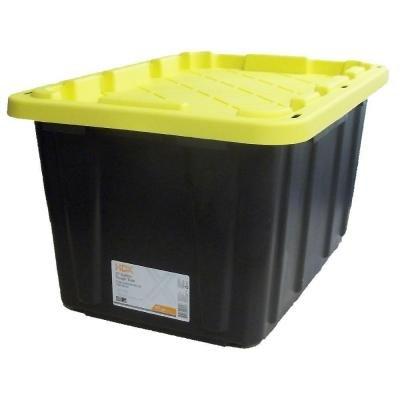Tough Polypropylene Plastic 27 Gal. Storage Tote in Black