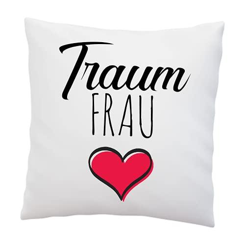 Liebtastisch Kissen mit Spruch Traumfrau - Deko Kissen 40x40cm Weiß Liebe - Geschenk für Schatz Liebesbeweis - Romantisch - Partner Geschenke - Geschenk für Frauen (Traumfrau)