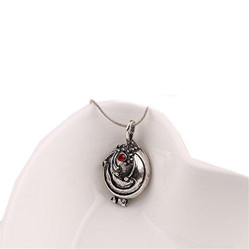 Collar de Elena Gilbert con colgante de verbena verbena vintage de The Diaries para hombres y mujeres, Metal cuero perla madera Vidrio, Plata envejecida., talla única