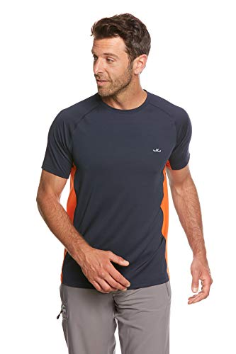 Jeff Green T-shirt fonctionnel respirant Rivara à manches courtes pour homme XXL Bleu marine/orange