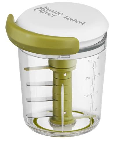 Tefal K16441 Jamie Oliver Chop & Shaker | ohne Strom | Fassungsvermögen: 450 ml | Multizerkleinerer | Universalzerkleinerer für Gemüse, Obst, Zwiebeln, Nüsse, Knoblauch | weiß/grün