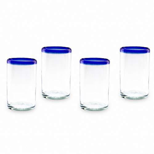 Mitienda - Juego de 4 Vasos, 11,5 cm, Vidrio Soplado Reciclado, Larga...