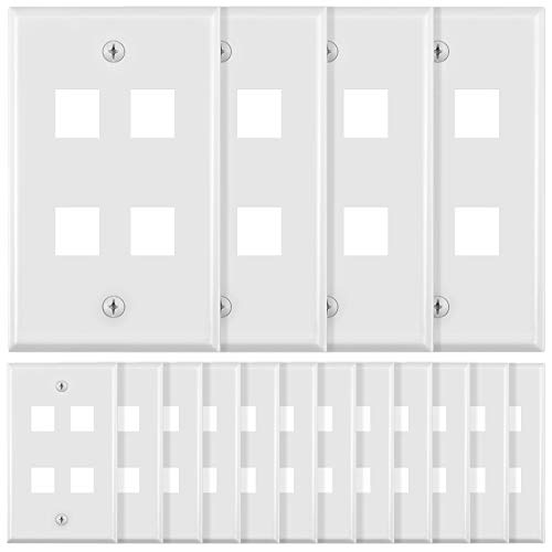 16 Pieces 4-Port Wall Plate for Keystone Jack Modular Inserts, White Keystone Wall Plates Replacement Decorative Wall Plate Covers with Mounting Screws