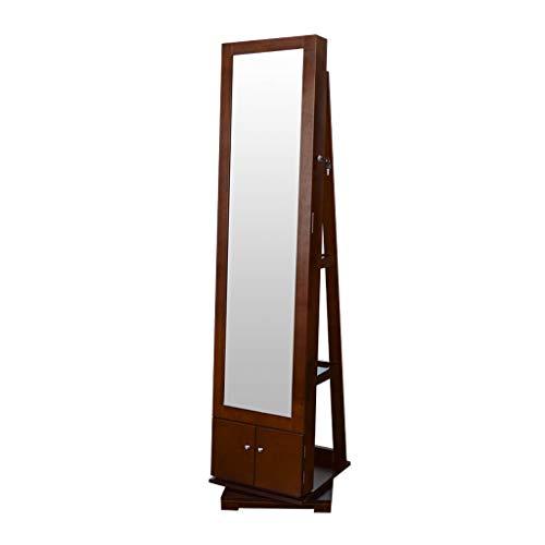 EVEN Großer abschließbarer Schmuckschrank mit Spiegel, drehbar