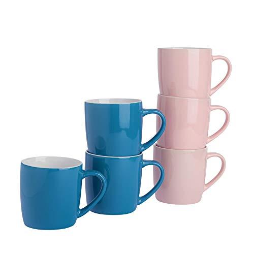 Argon Tableware Tasses à thé/café en céramique - coloré/Moderne - 340 ML - Bleu/Rose - Lot de 6