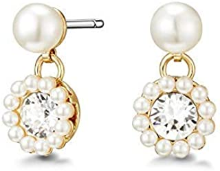 Mestige Golden Alora FWP Earrings with Swarovski® Crystals (Gold) Gifts Women Girls, Pearl, Classic Drop Stud Dangle-Earrings