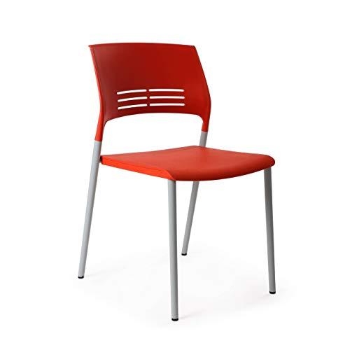 ofiprix | Silla Monza | Silla Confidente | Silla de Visita | 4 Patas | Color Rojo