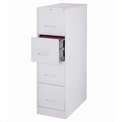 """Pemberly Row 25"""" Deep 4 Drawer Letter File Cabinet in Gray, Fully Assembled"""