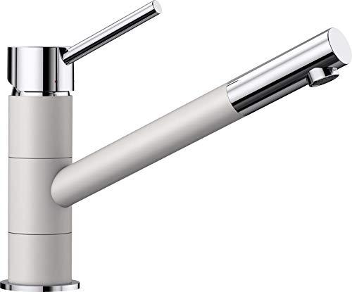 BLANCO KANO - Zweifarbiger Einhebelmischer für die Küche - mit 360° Rund-um-Schwenkbereich - Chrom / Weiß - 525030