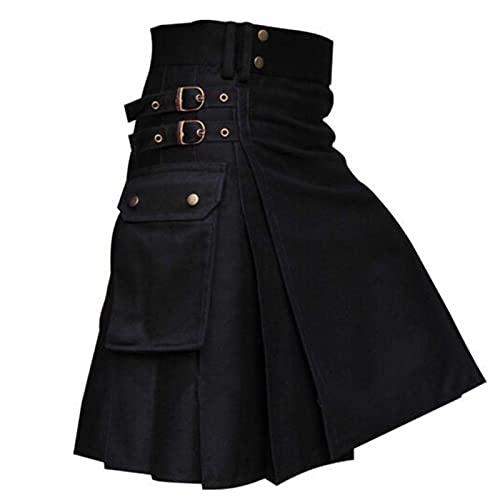 MOVERV Faldas Escocesas Tartán para Hombres Retro Faldas de Bolsillo Kilt Moda Gótica Ropa Falda Plisada Disfraz