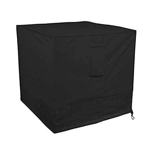 Little World Air Conditioner Cover Heavy Duty Large Universal Veranda Winter AC Unit Cover for Standard American Furniture Central Outdoor Vent Full Cover (Square) 34 x 34 x 30 inch, Black