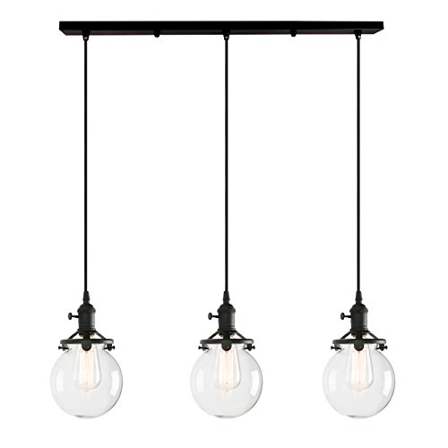 "Permo Vintage Rustic Industrial 3-Lights Kitchen Island Chandelier Triple 3 Heads Pendant Hanging Ceiling Lighting Fixture with Mini 5.9"" Round Clear Glass Globe Shade (Black)"