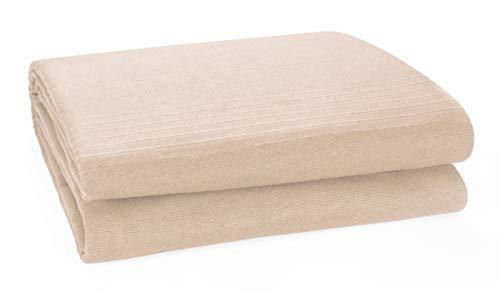 """Plaid classico in cotone a coste, copriletto per divano letto - 150 cm x 200 cm (60 """"x 80"""") Adatto alla maggior parte dei divani a 2 posti Poltrona poltrona e copriletto singolo, Buff"""