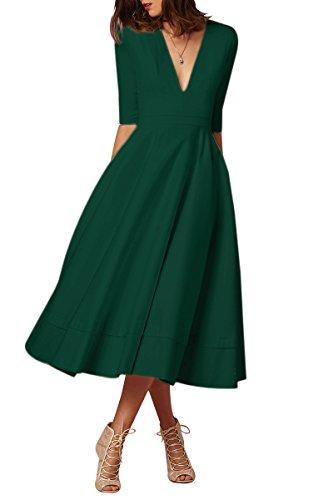 YMING Damen Cocktailkleid Elegantes Vintage Halber Ärmel Partykleid Tief V Ausschnitt Midikleid Plus Größe Grün XXXL DE 46 48