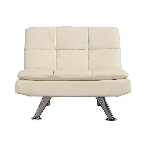 Modern Padded Faux Leather Sofa Sleeper Couch Setter Single Flat Chair with Chrome Legs for Lounge Living Room Max Capacity 100KG Cream
