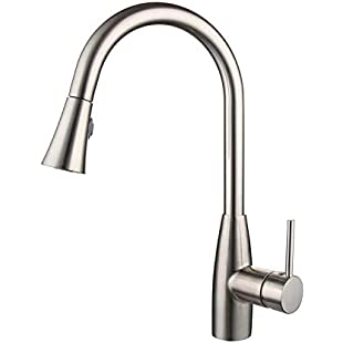 Kitchen Mixer Tap, CREA Single Lever Pull Down Sprayer Pull Out Kitchen Sink Faucets Stainless Steel