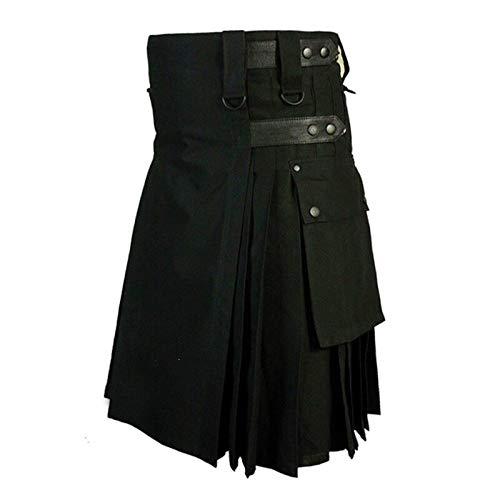 Herren Shorts Röcke Vintage Kilt Schottland Gothic Kendo Taschenrock Anpassbare Hip Hop Hosen Schottische Kleidung Falten Shorts XXXL Schwarz
