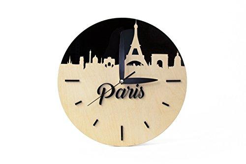 Moderne Uhr Holz – Hölzerne Uhr modern - Wanduhren aus Holz - Eltern Jubiläumsgeschenk - Wanduhren Holz - Hölzerne Geschenke Eltern - Wanddekor schwarz
