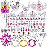Defrsk Princess Pretend Jewelry Girls Dress Up Accesorios de la joyería Set Princesa Jewelry Play con Princess Tiara, Collar, Pendientes, Anillos, Varita, Pulseras para la Fiesta de cumpleaños Favor