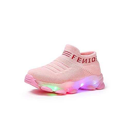 Samore Baby Kinderschuhe LED Mädchen Jungen Sneaker LED Bunte leichte Blinkschuhe Licht Leuchtend Sportschuhe Mesh Sneakers mit Klettverschluss, 1-6 Jahre