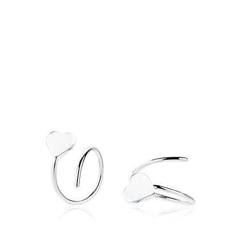 Iyé Biyé Jewels Pendientes niña Mujer Medio aro 12 mm con corazón 4 mm Plata de Ley 925 diseño Abierto