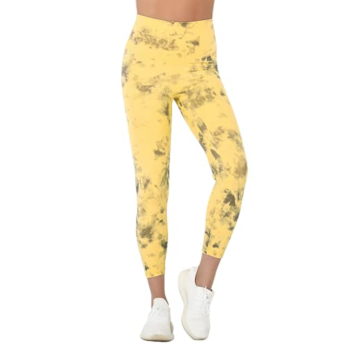 QTJY Pantalones de Yoga sin Costuras, Leggings Push-up, Leggings de Cintura Alta para Ejercicios de Gimnasia y Fitness para Mujeres D X-Large