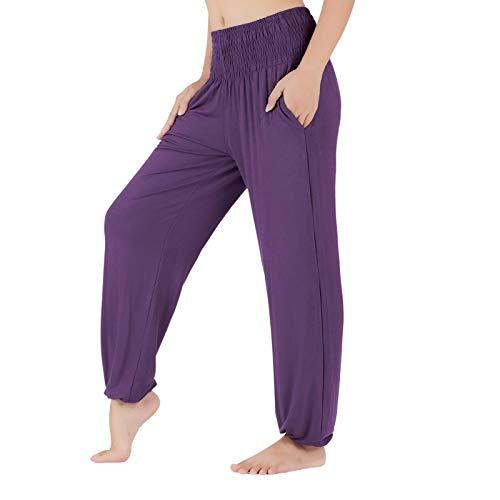 Lofbaz Pantalones de yoga para mujer, holgados e ideales para correr, hacer deporte y estar en casa, Mitternacht Lila, 44