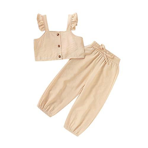 Chándal para niña o niña, de verano, deportivo, elegante, sin mangas, a la moda, para bebés y niñas (1-6 años) beige 5- 6 Años