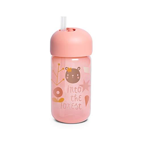 Suavinex 401205 Bicchiere Baby Training Cup Con Cannuccia Flessibile E Sistema Antigoccia, Da 18 Mesi, Forest Colore Rosa - 340Ml - 103 g
