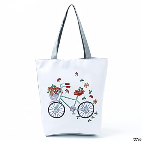 SSHUO Miyahouse Lovely Owl Printed Women's Casual Tote Large Capacity Canvas Female Shopping Bag Ladies Shoulder Handbag Beach Bag-1276b,a
