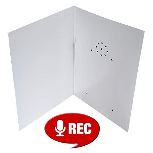 Talking Products RC6-40-WHT, Tarjeta de felicitación grabable, grabación de 40 segundos con baterías reemplazables, color blanco
