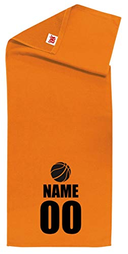 /ZZZB/名入れ 【スポーツ】【バスケットアイコン】【オレンジシャーリングタオル】【黒文字】【フリー】 PRIME