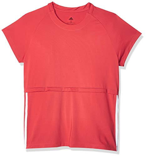 adidas 3S Cap Slv tee Camiseta, Mujer, rojglo/Blanco, L