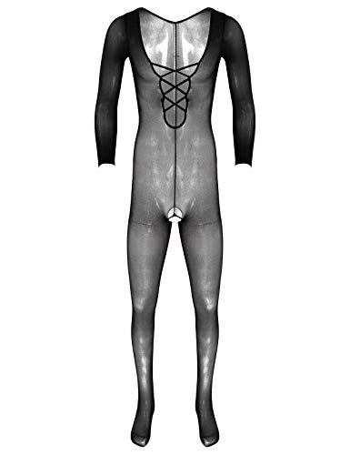 iixpin Herren Ouvert-Body Nylon Overall Fischernetz Strumpfhosen Transparent Dessous Einteiler Jumpsuit Ganzkörper Anzug Schlafanzug Clubwear Schwarz I One Size