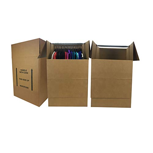 Wardrobe Moving Boxes (Bundle of 3) Larger More Cubic Feet...