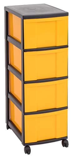 IRIS Schubladenbox mit Rollen, Kunststoff, gelb/schwarz (4 große) - Schubladenschrank...