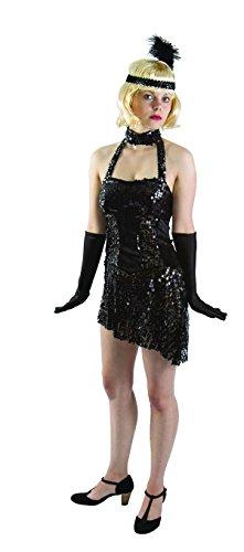 P'tit Clown 23730 kostuum voor volwassenen, jurk Charleston, eenheidsmaat, zwart