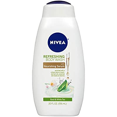 NIVEA Refreshing Basil and White Tea Body Wash - with Nourishing Serum - 20 fl. oz. Bottle