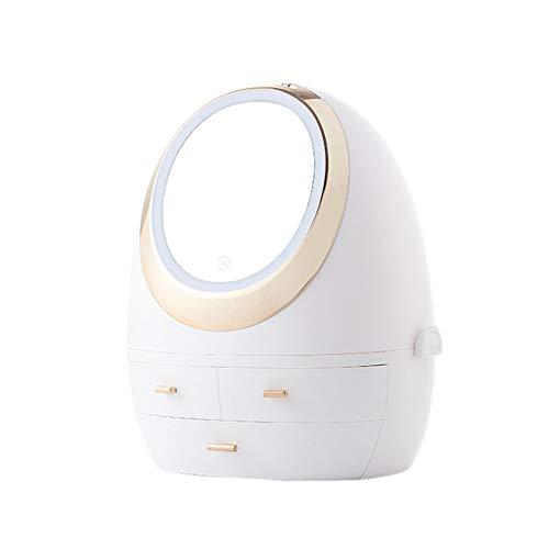 Yousiju Caja de Almacenamiento de cosméticos Estante de Almacenamiento de artefactos para Dormitorio Escritorio a Prueba de Polvo (Color : White)