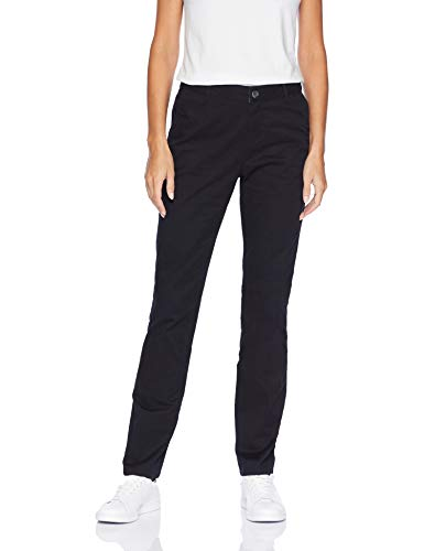 Amazon Essentials Women's Straight-Fit Stretch Twill Chino Pant, Black, 12 Regular