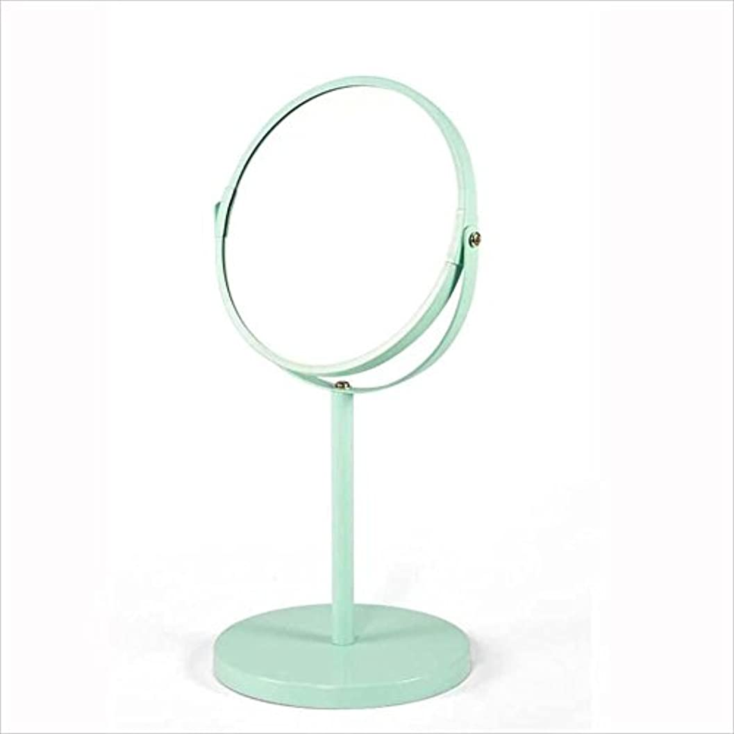 住居有彩色のドラマYxsd 化粧鏡 デスクトップポータブルミラー、シンプルな円形のダブルミラー、ヨーロッパスタイルのプリンセスミラー (Color : A)