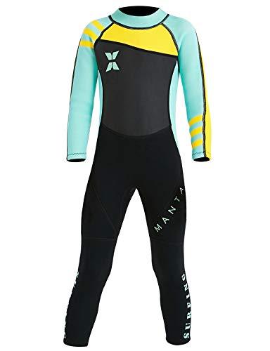 Echinodon Mädchen Neoprenanzug UPF 50+ 2.5MM Neopren Schwimmanzug Langarm UV Schutz Badeanzug für Baby Kinder Grün S